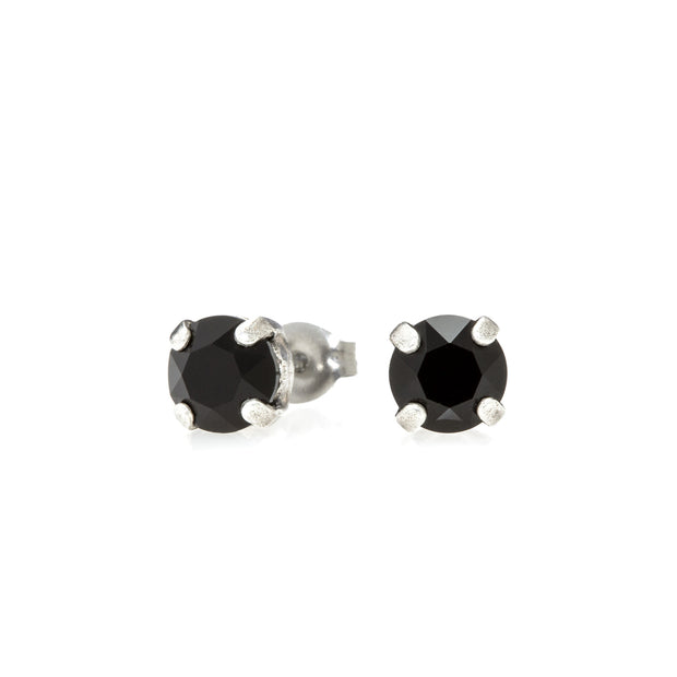 Audrey Swarovski Crystal Stud Earrings - Black and Silver