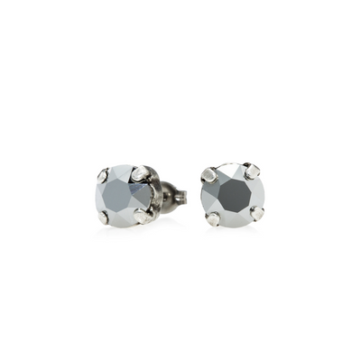 Audrey Swarovski Crystal Stud Earrings - Chrome