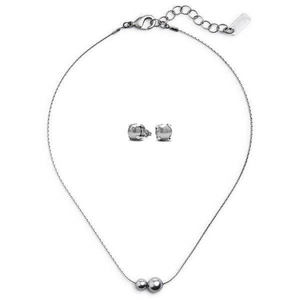 Billie Swarovski Pearl Set - Silver
