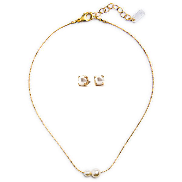 Billie Swarovski Pearl Set - Gold