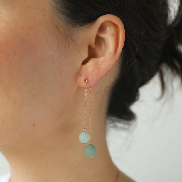 Carina Aventurine Earrings - 14k Rose Gold Fill