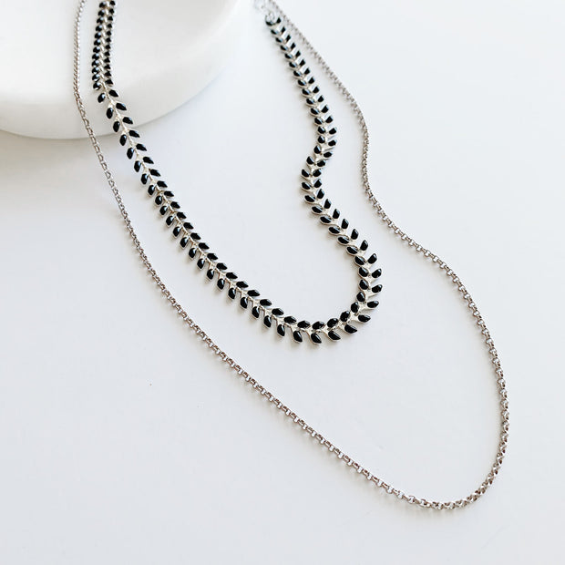 Chevron 2-in-1 Necklace - Black