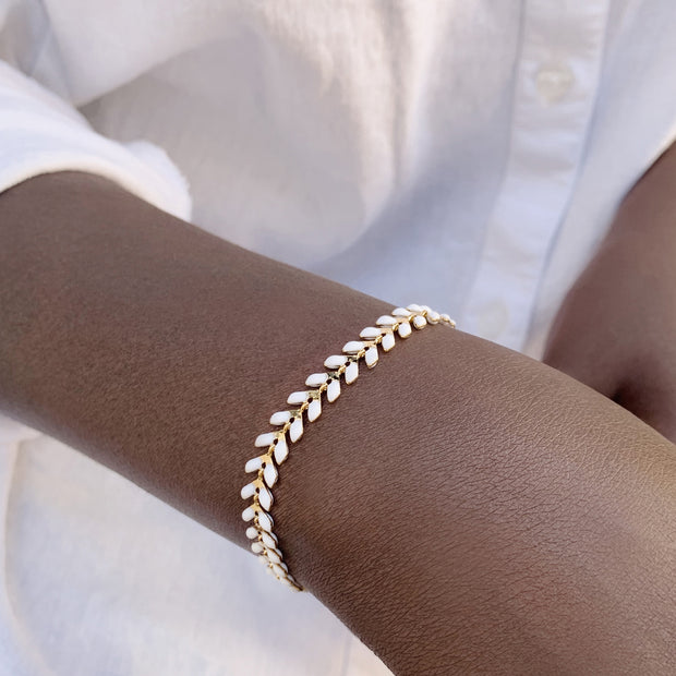 Chevron Bracelet - White