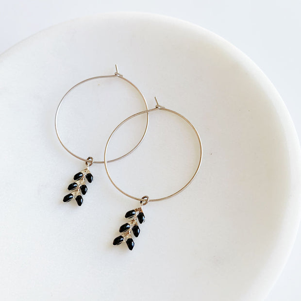 Chevron Bracelet + Hoops Set - Black