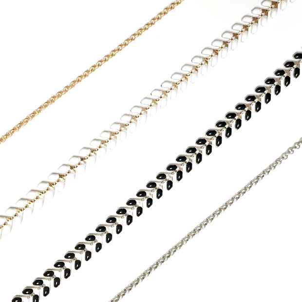 Chevron Y Necklace - Black