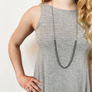 Chevron Convertible Necklace - Black 3