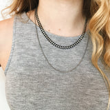 Chevron Convertible Necklace - Black 2