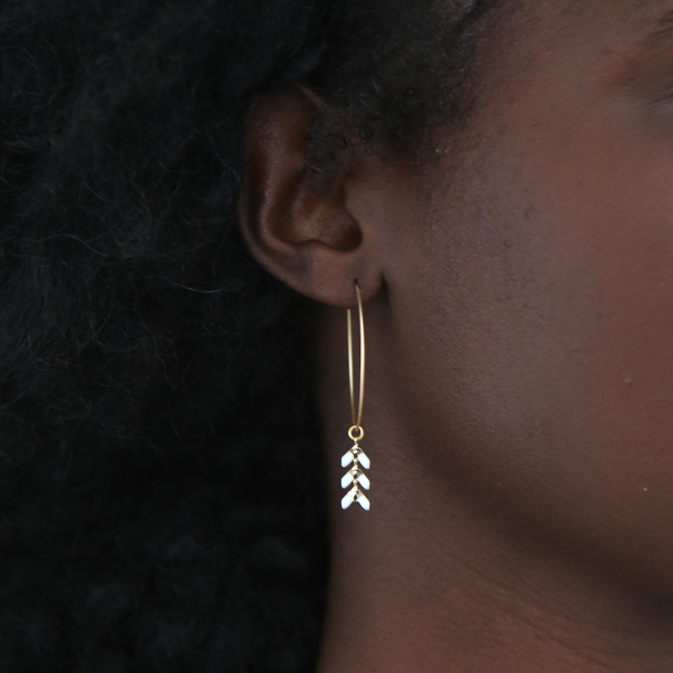 Chevron Hoop Earrings - White