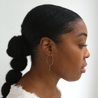 Chevron Hoop Earrings - Black