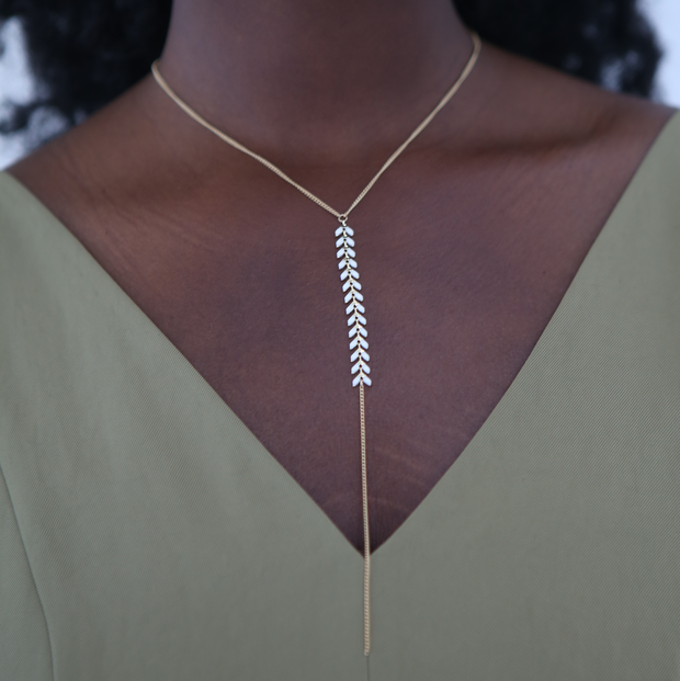 Chevron Y Necklace - White