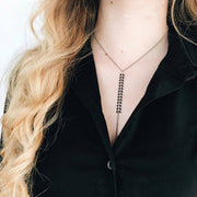 Chevron Y Necklace - Black 2