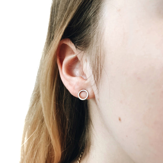 Minimal Stud Earrings Set - Silver