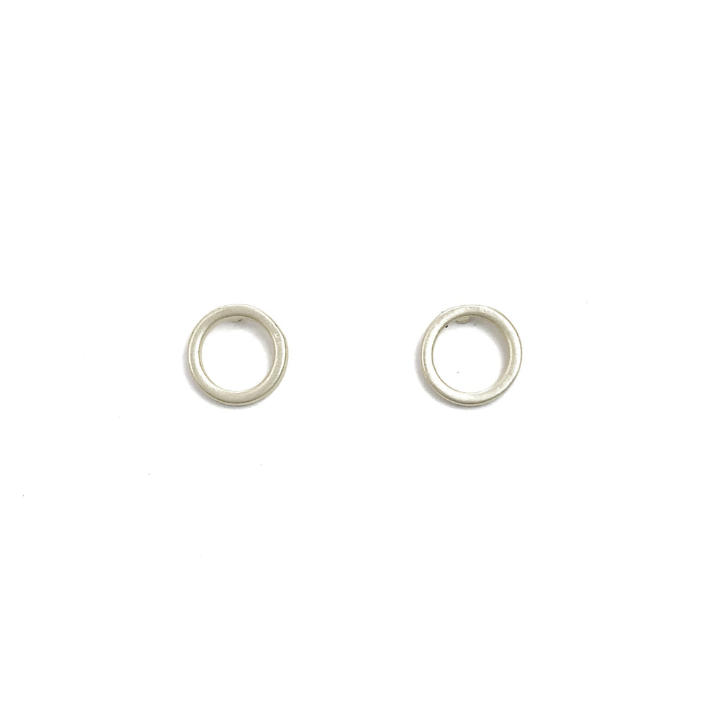 Circle Stud Earrings - Silver