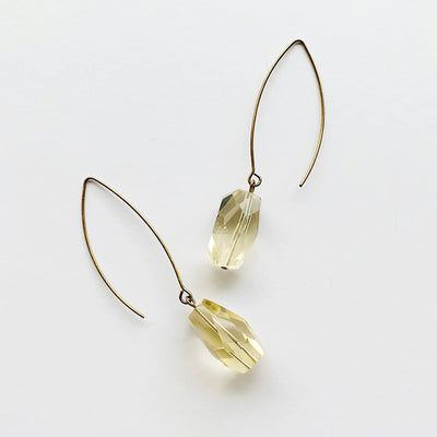 Sleek Drop Earrings - Citrine