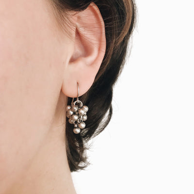 Coco Cluster Drop Earrings - Silver 2