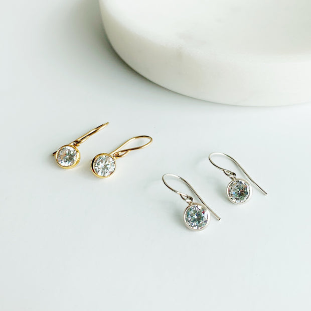 Collette Solitaire Drop Earrings - 14K Gold Fill