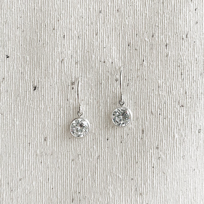 Collette Solitaire Drop Earrings - Sterling Silver