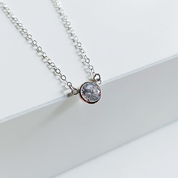 Collette Solitaire Necklace - Sterling Silver