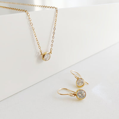 Collette Solitaire Necklace + Earrings Set - 14K Gold Fill