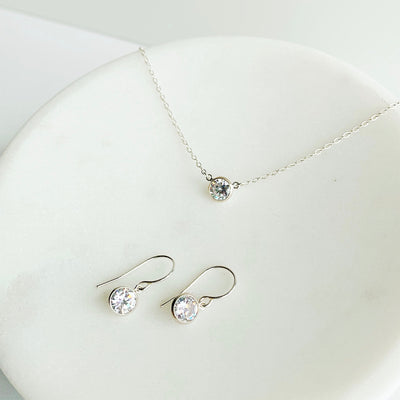 Collette Solitaire Necklace + Earrings Set - Sterling Silver