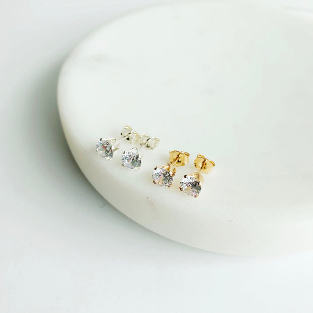 Collette Solitaire Studs - 14k Gold Fill