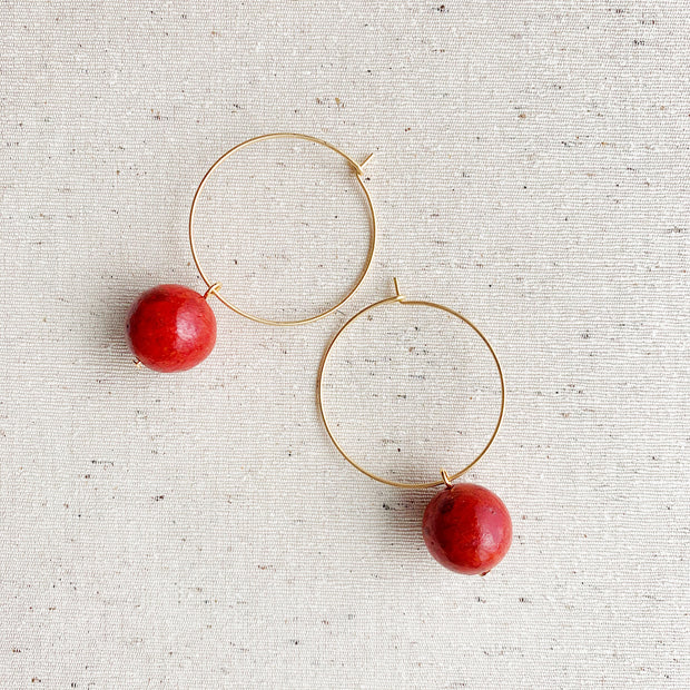 Hoop Drop Earrings - Coral