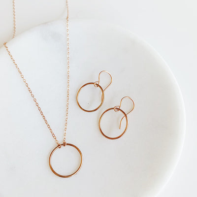 Crescent Circle Necklace + Earrings Set - 14K Rose Gold Fill