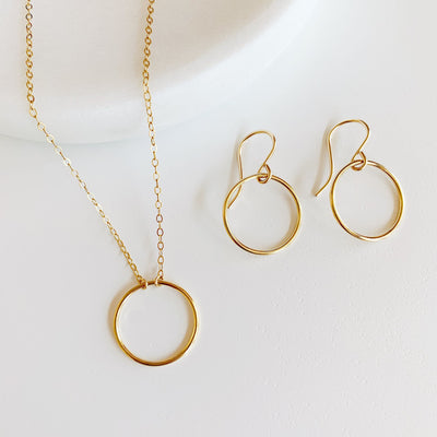 Crescent Circle Necklace + Earrings Set - 14K Gold Fill