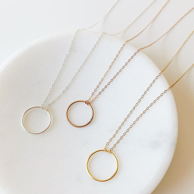 Crescent Circle Necklace + Earrings Set - Sterling Silver