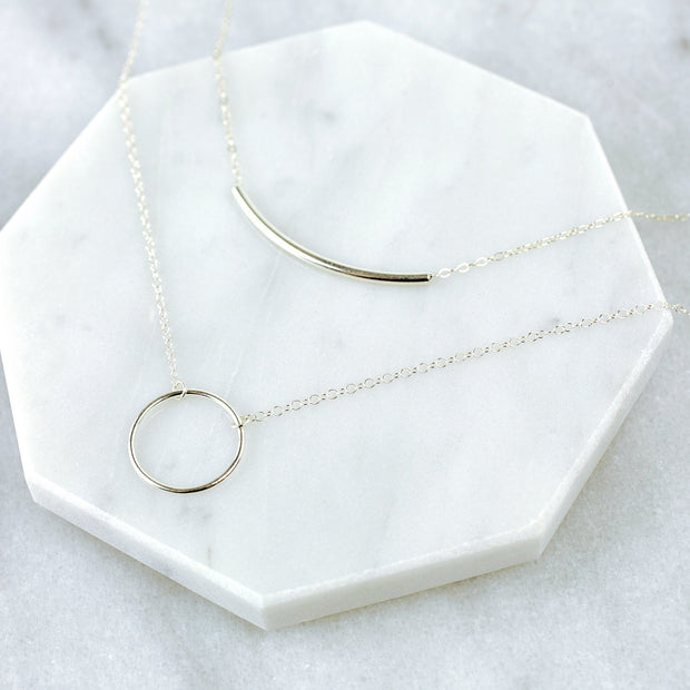 Crescent + Arc Necklace Layering Set - Sterling Silver