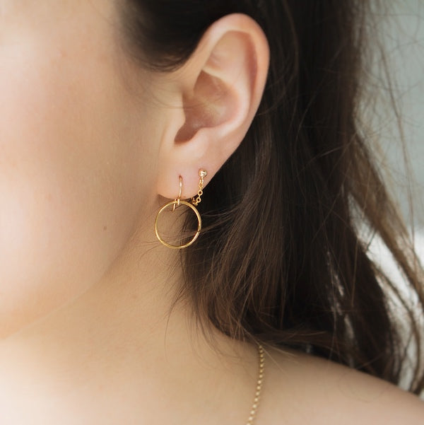 Crescent Circle Earrings - 14k Gold Fill