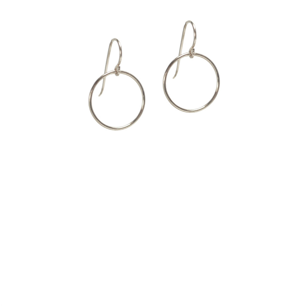Crescent Circle Earrings - Sterling Silver