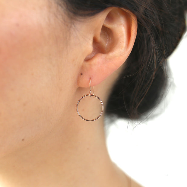 Crescent Circle Earrings - 14k Rose Gold Fill