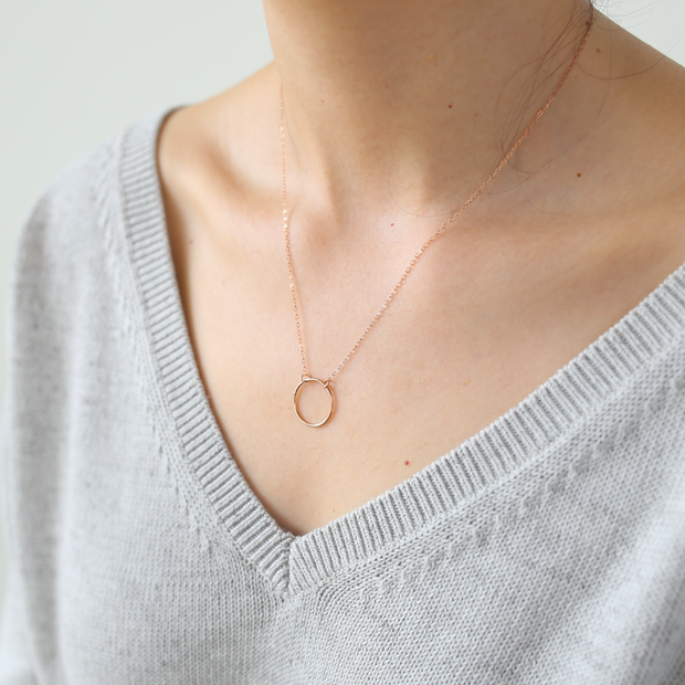 Crescent Circle Necklace - 14k Rose Gold Fill