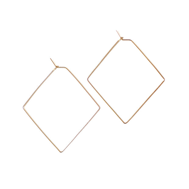 Diamond Medium Hoops - 14k Gold Fill
