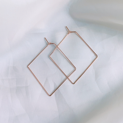 Diamond Medium Hoops - 14k Rose Gold Fill