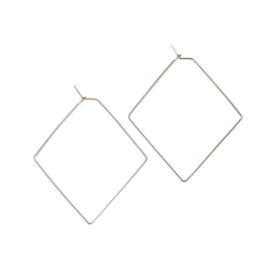 Diamond Medium Hoops - Sterling Silver