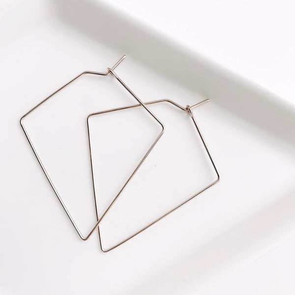 Diamond Small Hoops - Sterling Silver