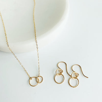 Ella Linked Ring Necklace + Earrings Set - 14K Gold Fill