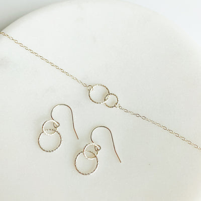 Ella Linked Ring Necklace + Earrings Set - Sterling Silver