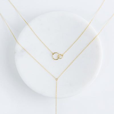 Ella + Aria Y Necklace Layering Set - 14K Gold Fill