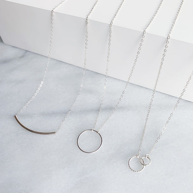 Ella Linked Ring Necklace - Sterling Silver