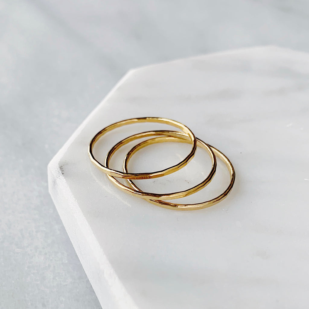 14K Gold filled Wide Stackable Ring Band