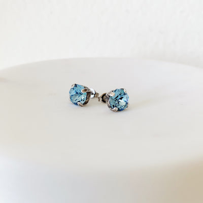 Grace Swarovski Crystal Stud Earrings - Aquamarine