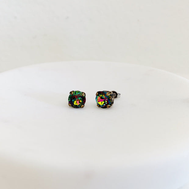 Grace Swarovski Crystal Stud Earrings - Aurora Borealis