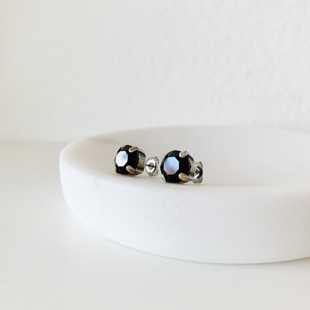 Grace Swarovski Crystal Stud Earrings - Black and Silver