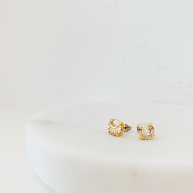 Grace Swarovski Crystal Stud Earrings - Champagne