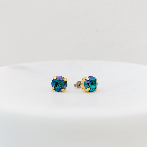 Grace Swarovski Crystal Stud Earrings - Peacock