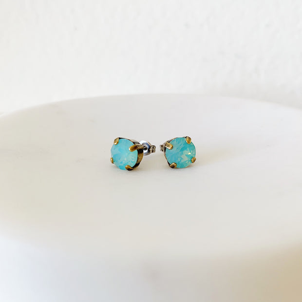 Grace Swarovski Crystal Stud Duo Set - Aquamarine/Riviera