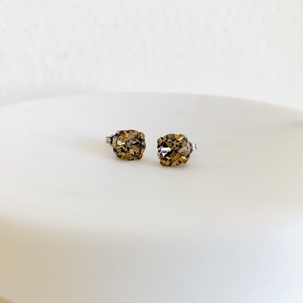 Grace Swarovski Crystal Stud Earrings - Smoky